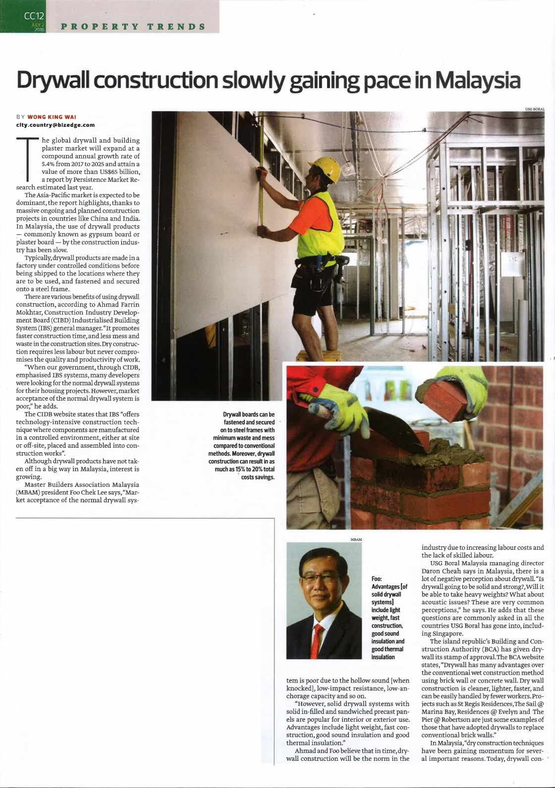 Drywall construction article in The Edge Malaysia image #01
