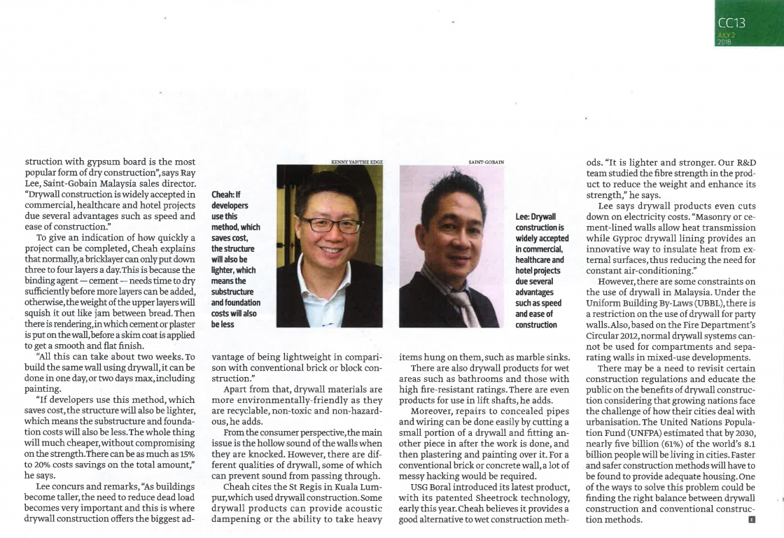Drywall construction article in The Edge Malaysia image #02