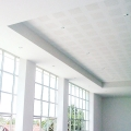 Stepped ceiling design made with GypStep™ pre-fabricated gypsum board